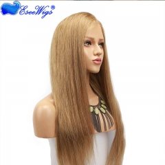 Sliky Straight Human Hair Blonde Lace Front Wigs Side Part Baby Hair #18 Brazilian Remy Human Hair Lace Wig For Women